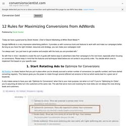12 Rules for Maximizing Conversions from AdWords - The Conversion Scientist