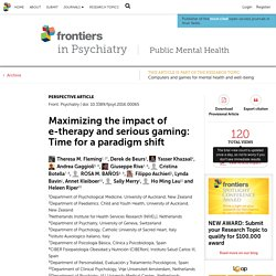 Maximizing the impact of e-therapy and serious gaming: Time for a paradigm shift