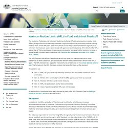 AUSTRALIAN PESTICIDES AND VETERINARY MEDICINES AUTHORITY (APVMA) - Maximum Residue Limits (MRL) in Food and Animal Feedstuff