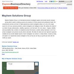 Mayhem Solutions Group, 1298 East Brenda Drive, , Casa Grande, Arizona, 85122, United States