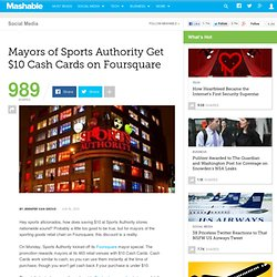 Mayors of Sports Authority Get $10 Cash Cards on Foursquare