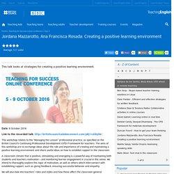 Jordana Mazzarotto, Ana Francisca Rosada: Creating a positive learning environment