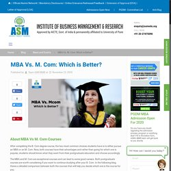 MBA Vs. M. Com: Which is Better?