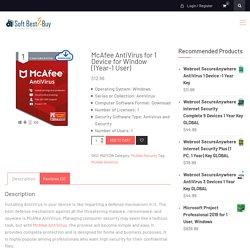Buy McAfee AntiVirus for 1 Device - SoftBest2Buy