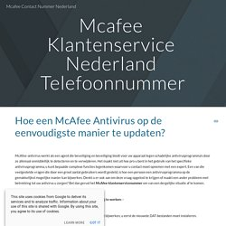 Mcafee Contact Nummer Nederland