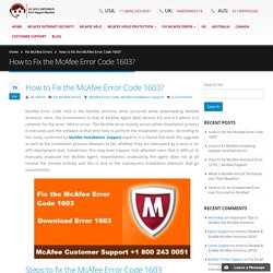 How to Fix the McAfee Error Code 1603
