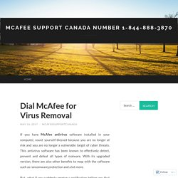 McAfee Support Canada Number 1-844-888-3870