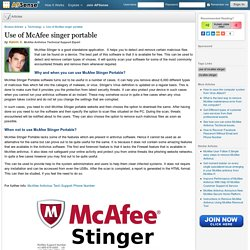 Use of McAfee singer portable by Kalvin S.