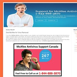 McAfee Support Canada Number 1-844-888-3870: Dial McAfee for Virus Removal