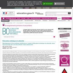 Circulaire Développement d'une politique ambitieuse en matière d'éducation artistique et culturelle, dans tous les temps de la vie des enfants et des adolescents