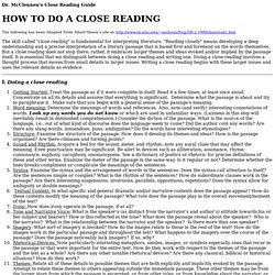 McClennen's Close Reading Guide