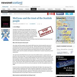 McCrone and the trust of the Scottish people