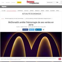 McDonald's arrête l'hémorragie de ses ventes en 2016