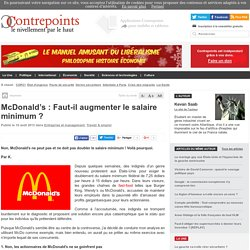 McDonald's : Faut-il augmenter le salaire minimum