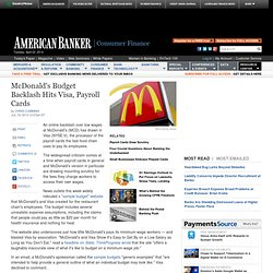 McDonald s Budget Backlash Hits Visa, Payroll Cards - People Article