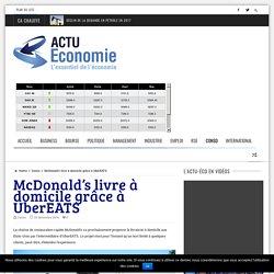 McDonald's livre à domicile grâce à UberEATS - actu-economie.com