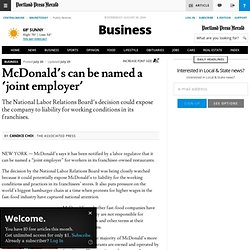 McDonald's can be named a 'joint employer'