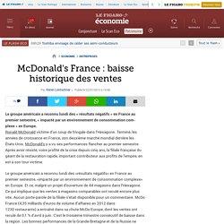 McDonald's France: baisse historique des ventes