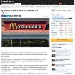 McDonald's limite le recul de ses ventes en 2016 Par AFP