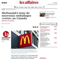 McDonald's teste de nouveaux emballages «verts» au Canada