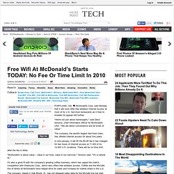 Free Wifi At McDonald's: No Fee Or Time Limit In 2010