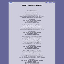 BARRY MCGUIRE LYRICS - Eve Of Destruction