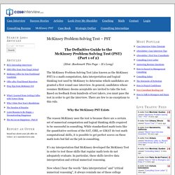 McKinsey Problem Solving Test – PST