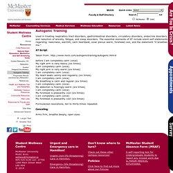 University > Student Wellness Centre > Autogenic Training - McMaster University - Student Wellness Centre