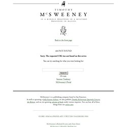 McSweeney's: Recommendations.