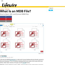 MDB File (What It Is and How To Open One)