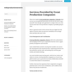Services Provided by Event Production Companies