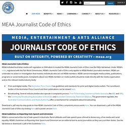 MEAA Journalist Code of Ethics