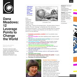 Dana Meadows: 12 Leverage Points to Change the World