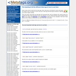 The meaning of all the different meta tags & how to use them