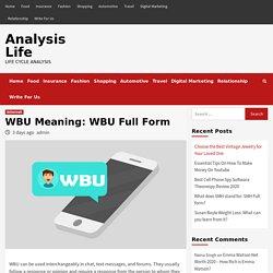 WBU Meaning: WBU Full Form - What does WBU mean?