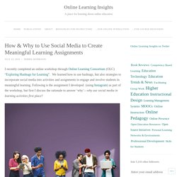 How & Why to Use Social Media to Create Meaningful Learning Assignments