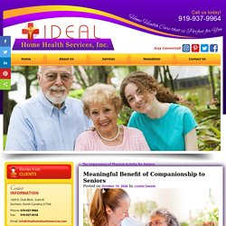 Meaningful Benefit of Companionship to Seniors