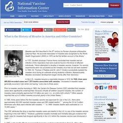 What is Measles History in America - National Vaccine Information Center