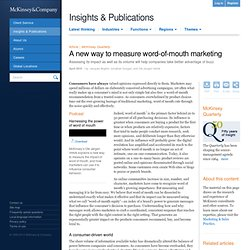 A new way to measure word-of-mouth marketing - McKinsey Quarterly - Marketing - Strategy