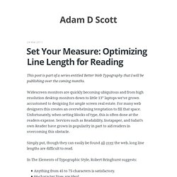 Set Your Measure: Optimizing Line Length for Reading