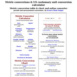 Metric conversions, metric conversion chart & table - online converter for US customary & metric system unit measurement conversions, plus currency converter & fractions to decimals