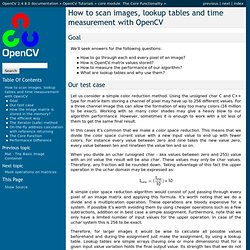 How to scan images, lookup tables and time measurement with OpenCV — OpenCV v2.3 documentation