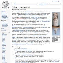 Talent (measurement)