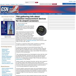 TSA gathering info about radiation measurement devices for its airport screeners