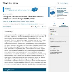 Timing and Frequency of Mental Effort Measurement: Evidence in Favour of Repeated Measures - Gog - 2012 - Applied Cognitive Psychology