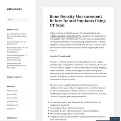 Bone Density Measurement Before Dental Implants Using CT Scan