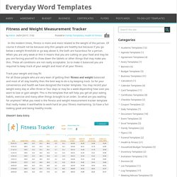 Fitness and Weight Measurement Tracker Template