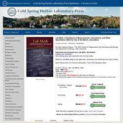 Lab Math: A Handbook of Measurements, Calculations, and Other Quantitative Skills for Use at the Bench, 2nd edition