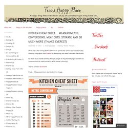 Kitchen Cheat Sheet…. Measurements, Conversions, Meat Cuts, Storage and so Much More (thanks visual.ly)