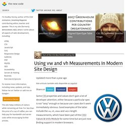 Using vw and vh Measurements In Modern Site Design